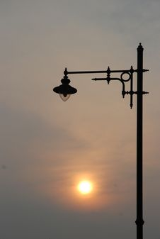 Free Stand Of One Lamp Between Sunset Stock Photography - 96934022