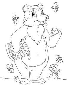 Cartoon Bear With Honey Royalty Free Stock Photo