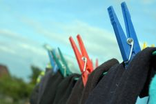Socks On Clothes-line Royalty Free Stock Images