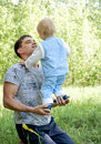 Free Father And Little Son Outdoor Fun In Summer Stock Images - 9705644