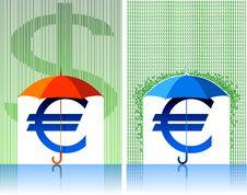 Free Euro Under Umbrella Stock Images - 9700234