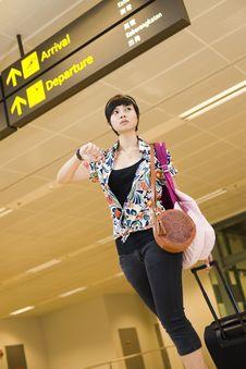 Free Asian Girl At Singapore S Changi Airport Terminal Stock Image - 9701531