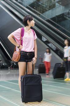 Free Asian Girl At Singapore S Changi Airport Terminal Stock Image - 9701721