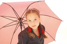 Free Cute Teenager Girl With A Pink Umbrella Royalty Free Stock Image - 9701786