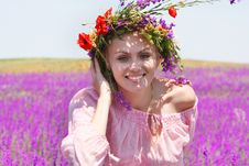 Free Happy Girl In Floral Wreath On Natural Background Royalty Free Stock Photo - 9702455