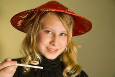 Girl Offers Sushi Royalty Free Stock Photo