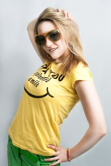 Pretty Blonde Smiling In Sunglasses Royalty Free Stock Photography