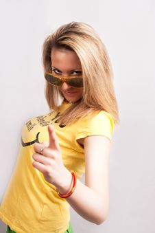 Free Bright Blonde With Caution Sign Stock Photo - 9702640