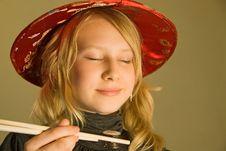 Girl Enjoys Sushi Stock Photos