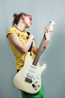 Free Young Blonde With Guitar Royalty Free Stock Photography - 9702887