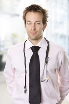 Free Closeup Portrait Of A Young Doctor With Stethoscop Stock Image - 9703091