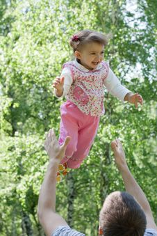 Free Father And Flying Daughter Outdoor Fun In Summer Royalty Free Stock Photos - 9703678