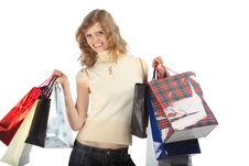Free Smiling Blonde With Paper Bags Stock Images - 9705004