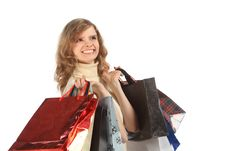 Free Happy Blonde With Paper Bags Royalty Free Stock Images - 9705029