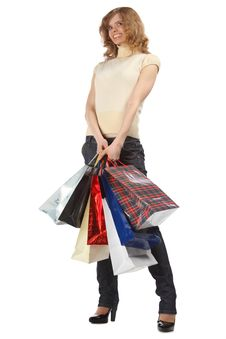 Free Happy Blonde Holds Paper Bags Stock Photo - 9705050