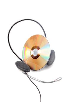 Free Headphone And Compact Disc Royalty Free Stock Photography - 9705237