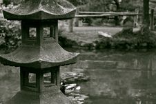 Free Stoned Sculpture In A Japanese Garden Stock Images - 9705324