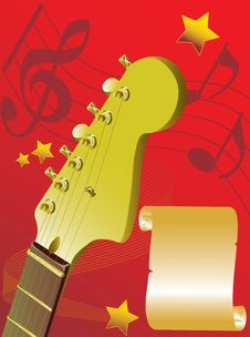 Free Guitar On A Red Background Royalty Free Stock Images - 9705499