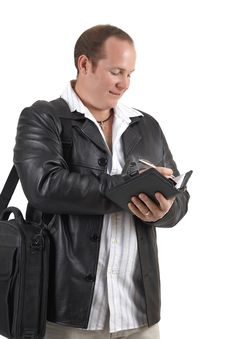 Businessman Holding A Diary Stock Image