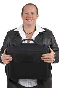 Free Businessman Holding A Laptop Bag Stock Images - 9706784