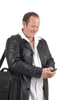 Free Businessman Holding A Cellphone Royalty Free Stock Image - 9706786