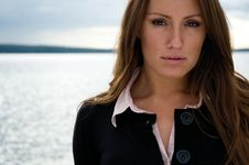Free Young Beautiful Businesswoman In Front Of A Lake Royalty Free Stock Photos - 9708148