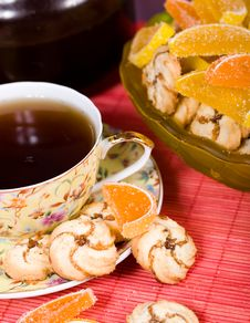 Free Cup Of Tea And Cookies Stock Image - 9708211