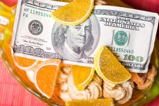 Paper Money And Sweets Stock Photography