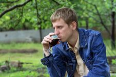 Free Young Men With Glass Of Red Wine Royalty Free Stock Photo - 9708615