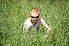 Free Boy In A Grass Royalty Free Stock Image - 9709266