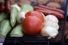 Free Veggies On Grill Stock Image - 9709491