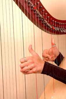 Playing A Harp Royalty Free Stock Photography
