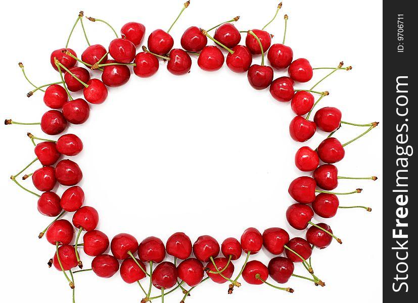 Frame from ripe sweet cherries