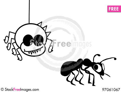 Free Spider Scrolling Down Harassing An Ant Royalty Free Stock Photography - 97061067