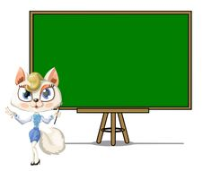 Classroom. Cat Teacher. Empty Chalkboard Stock Images