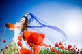 Free Beautiful Girl In The Poppy Field Royalty Free Stock Photo - 9710795