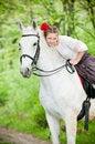 Free Beautiful Girl Riding White Horse Stock Photos - 9711453