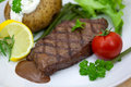 Free Grilled Steak With Baked Potato And Cream Stock Image - 9712831
