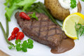 Free Grilled Steak With Baked Potato And Cream Stock Image - 9712841