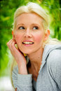 Free Beautiful Blond Female Relaxing In The Park Royalty Free Stock Photo - 9715235
