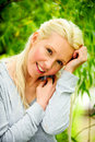 Free Beautiful Blond Female Relaxing In The Park Stock Photos - 9715403