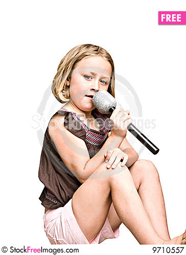 Free Young Girl With Microphone Royalty Free Stock Photography - 9710557