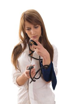Checking Blood Pressure Stock Photo