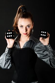 Free Portrair Of Young Girl With Two Dice Stock Photo - 9710360