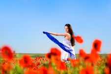 Free Attractive Girl In The Poppy Field Stock Photos - 9710923