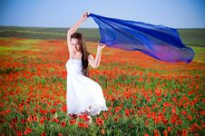 Free Beautiful Girl In The Poppy Field Royalty Free Stock Photography - 9711027