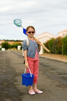 Girl Bucket Beach Stock Photo