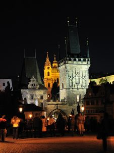 Charles Bridge Bridge Tower In Lesser Quarter Royalty Free Stock Image