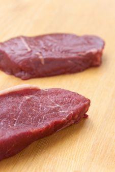Free Uncooked Steaks On Wooden Cutting Board Royalty Free Stock Photo - 9712575