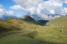 Free Dolomiti Mountains In Italy. Panorama Royalty Free Stock Photography - 9712587